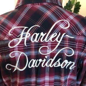 Harley Davidson Plaid Snap Front Woven Blouse